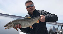 Early April Lake Trout Fishing - Northern Michigan,Humminbird, Minn Kota, GoPro, Under Armour, Shimano, G. Loomis